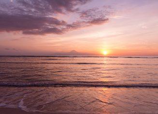 View at Bali island from Gili Trawangan at sunset
