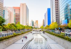 Cheonggyecheon Stream in Seoul City , Korea